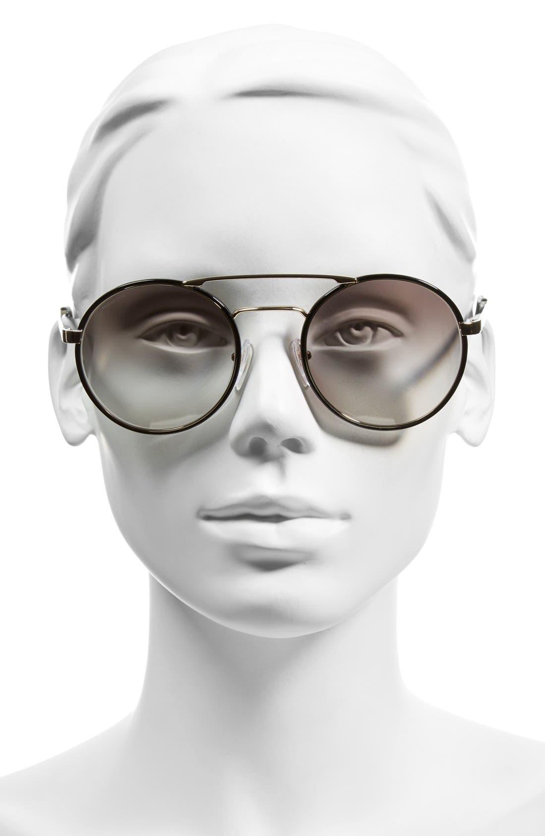 'Cinemà' 54mm Round Sunglasses,                             Alternate thumbnail 2, color,                             Black