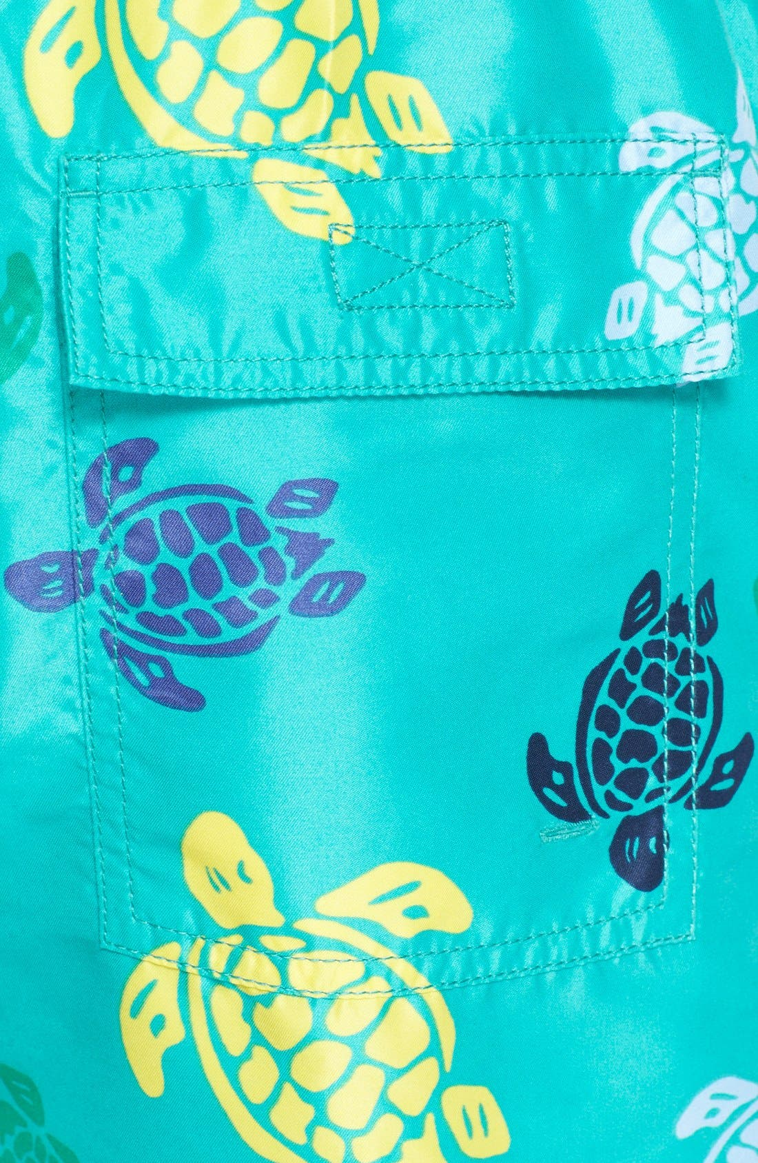 'Okoa' Turtle Print Swim Trunks,                             Alternate thumbnail 5, color,                             Veronese Green