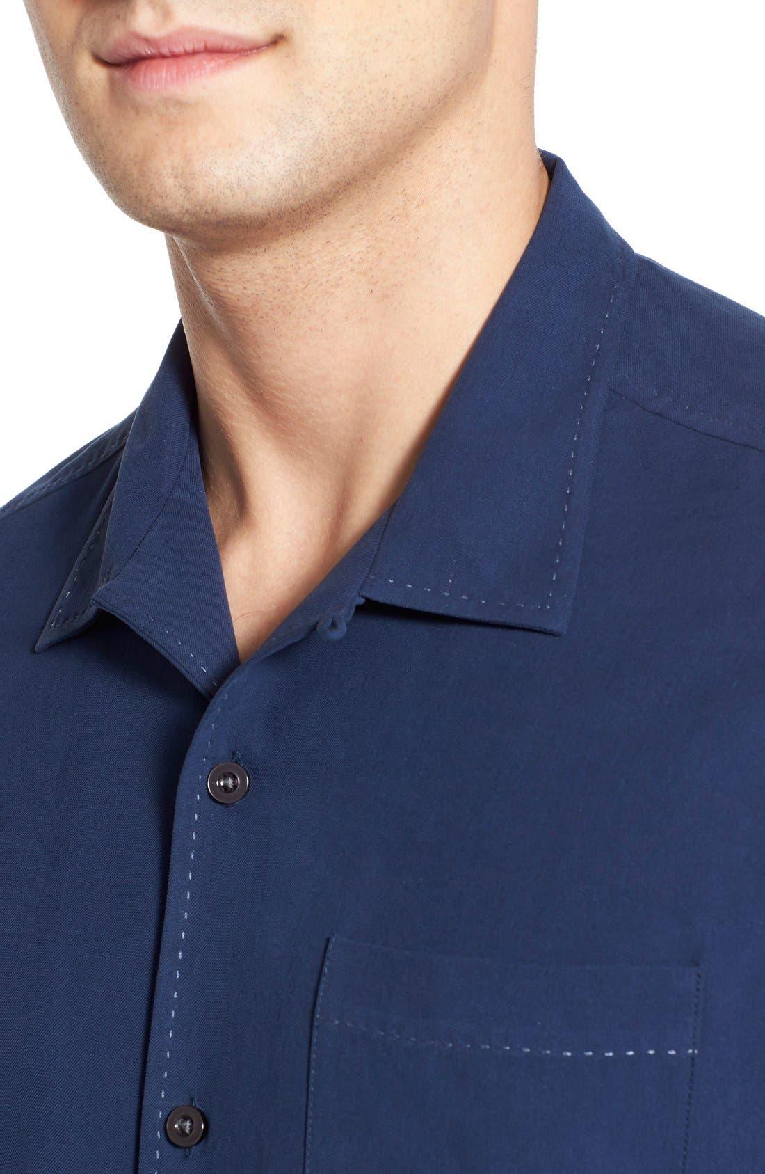 'Catalina Twill' Original Fit Silk Camp Shirt,                             Alternate thumbnail 4, color,                             Navy