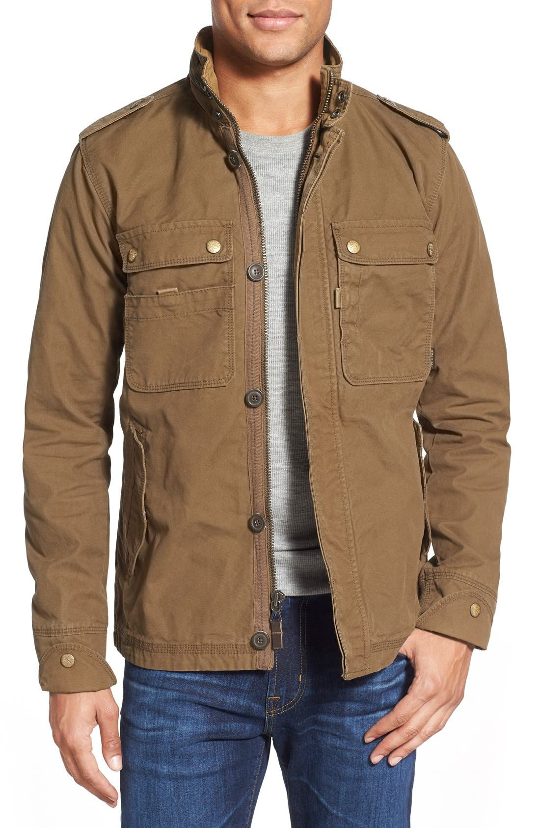 'Paxton' Military Jacket with Stowaway Hood,                         Main,                         color, Peat