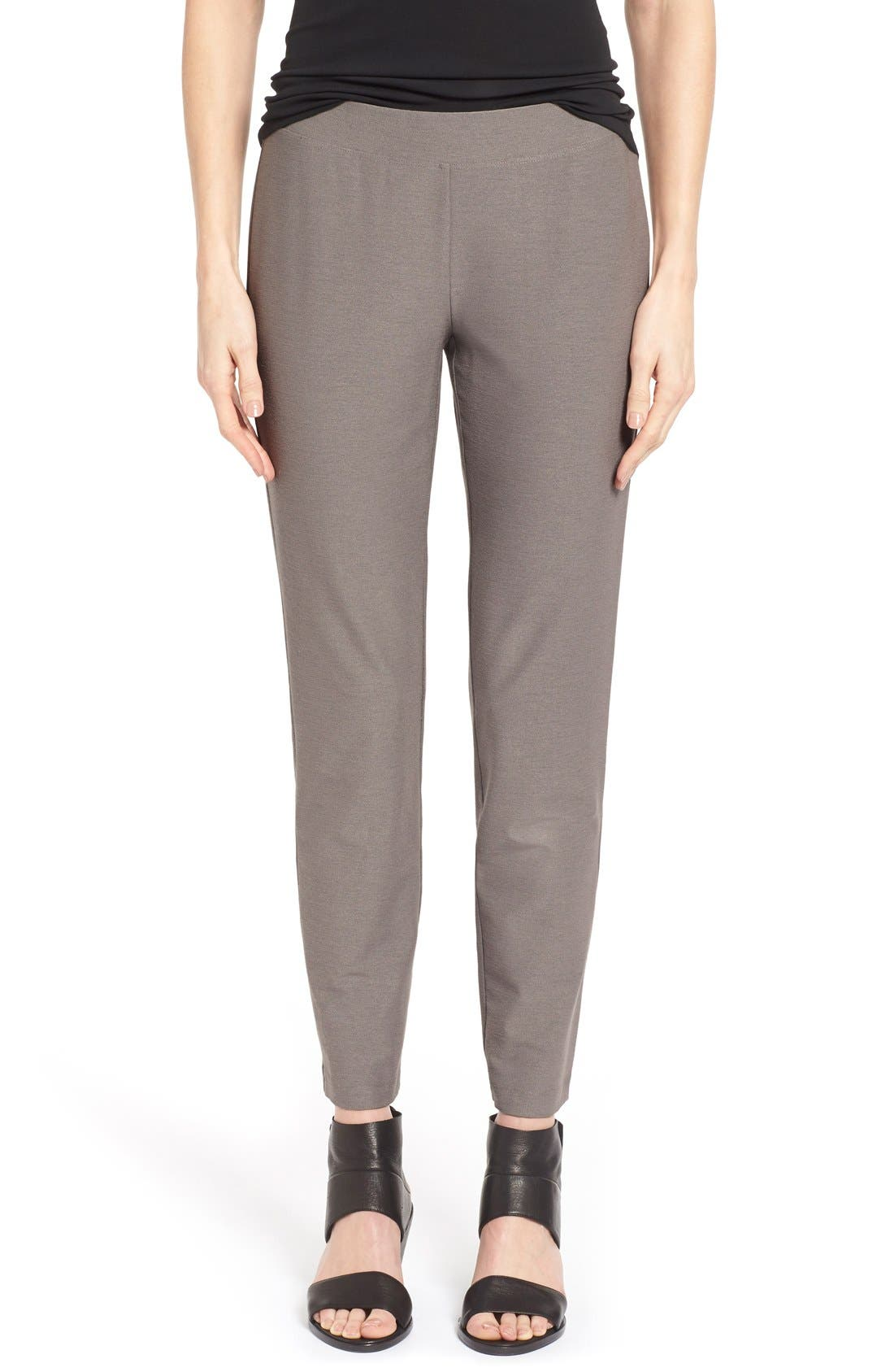 Alternate Image 1 Selected - Eileen Fisher Stretch Crepe Ankle Pants (Regular & Petite) (Online Only)