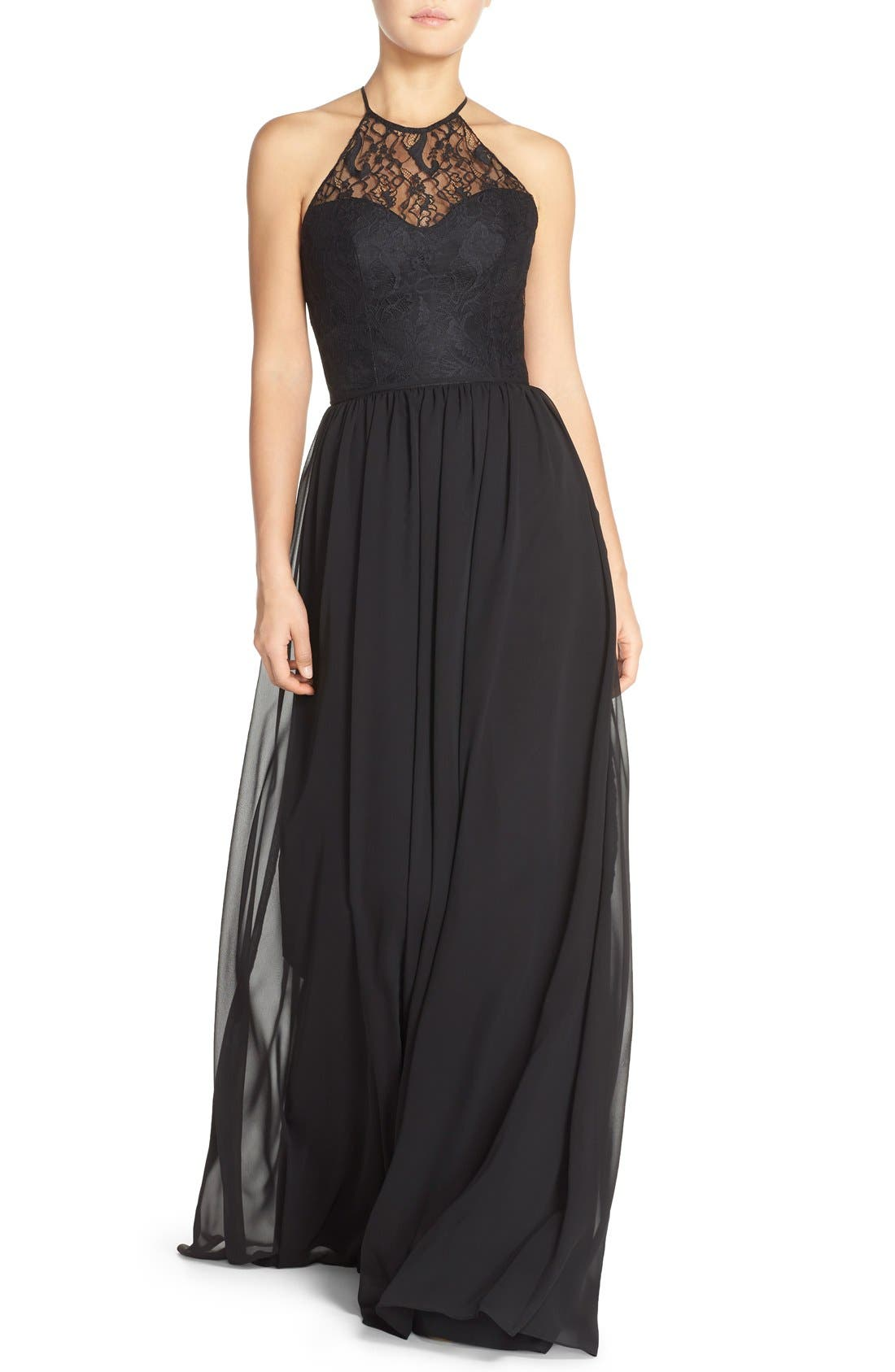 Lace & Chiffon Halter Gown,                         Main,                         color, Black