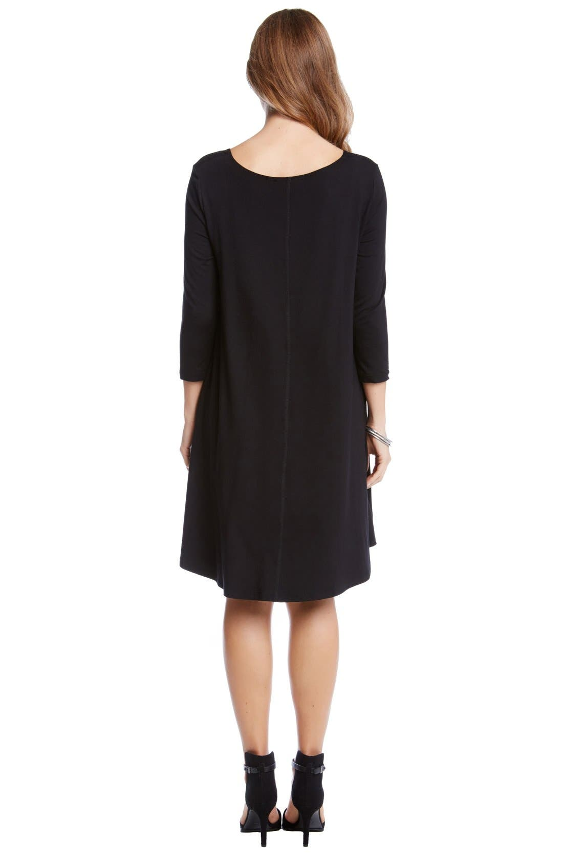 Alternate Image 2  - Karen Kane 'Maggie' Three Quarter Sleeve Trapeze Dress (Regular & Petite)