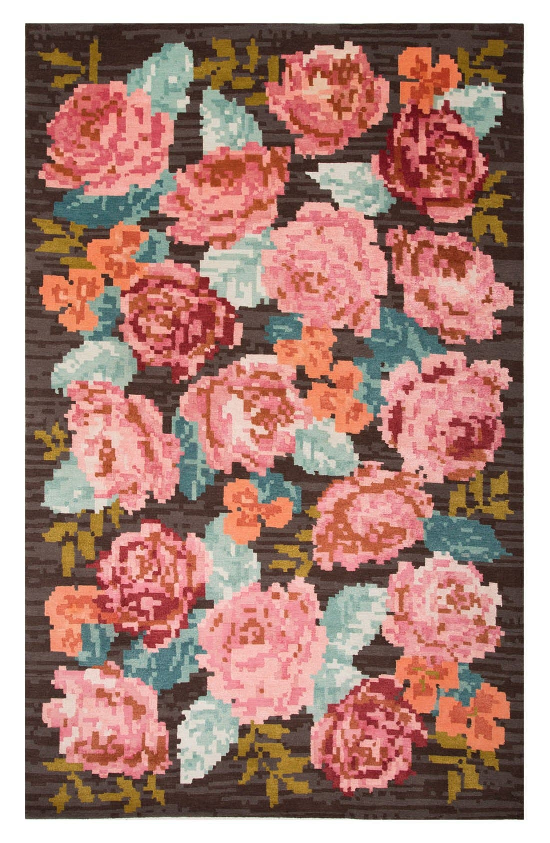 'murray - floral pattern' wool blend rug,                         Main,                         color, Brown/ Pink