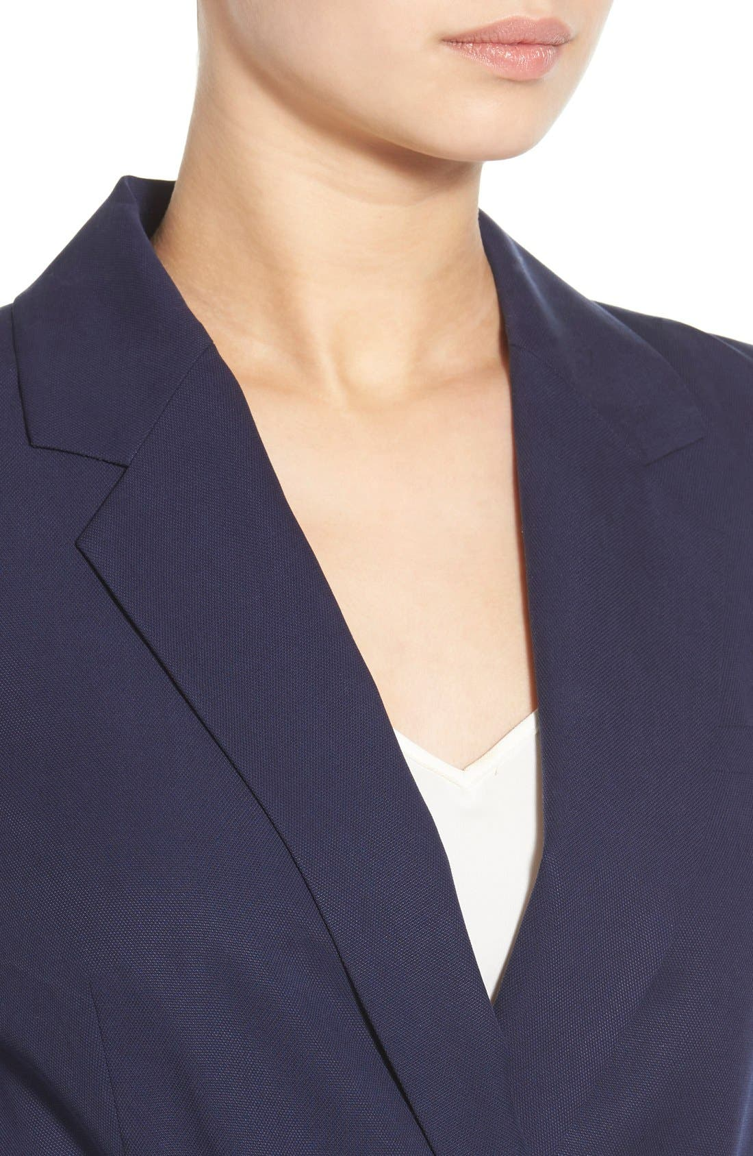 Belted Double Breasted Blazer,                             Alternate thumbnail 4, color,                             Evening Navy