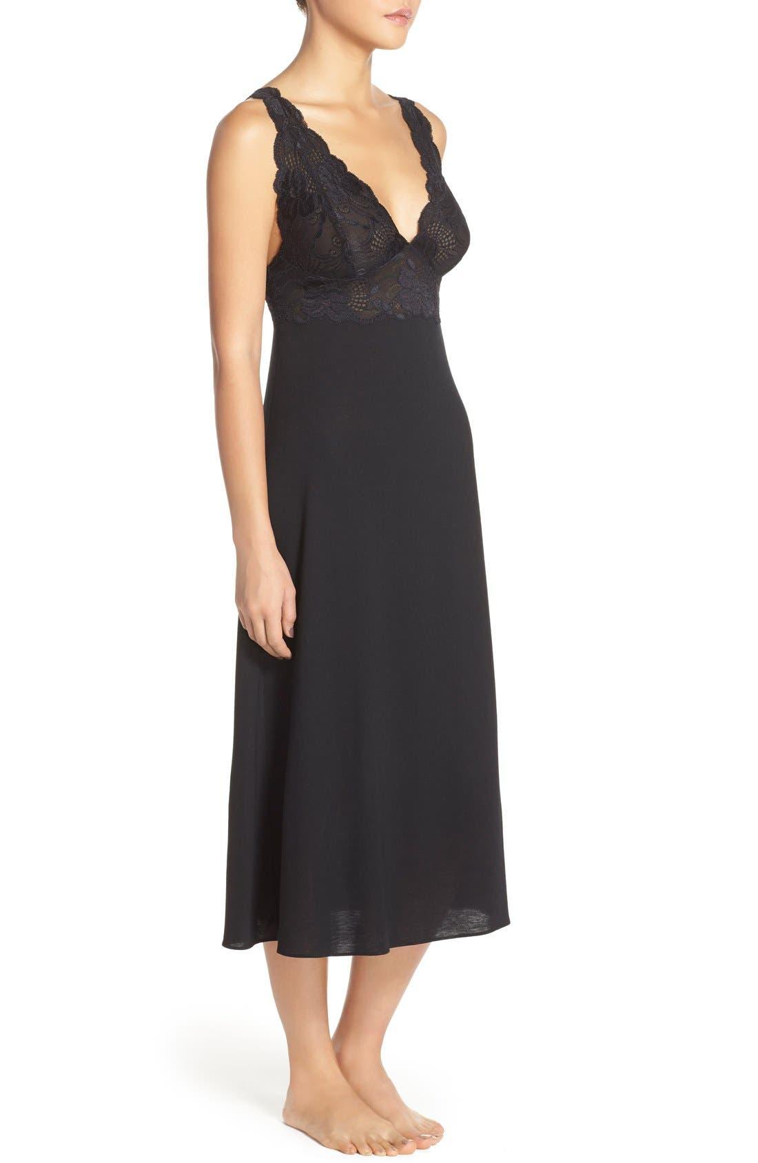 'Zen Floral' Nightgown,                             Alternate thumbnail 3, color,                             Black