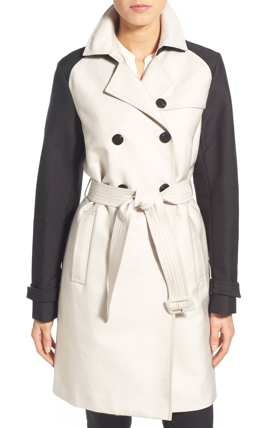 Alternate Image 1 Selected - Vera Wang Contrast Sleeve Trench Coat