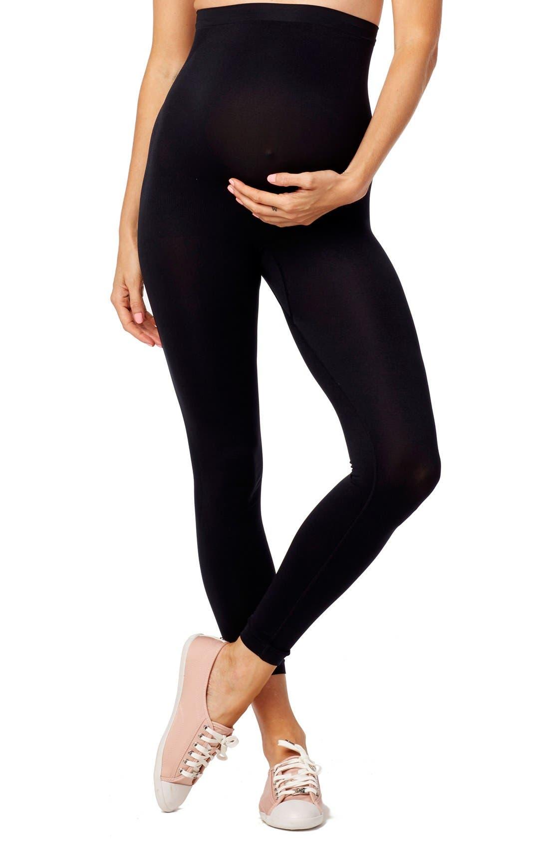 Seamless Maternity Leggings,                         Main,                         color, Black