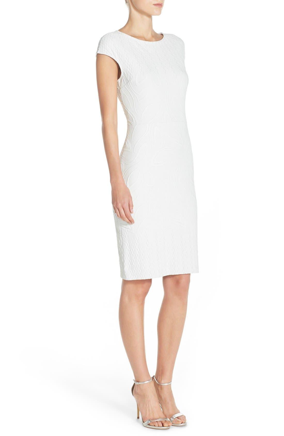 Jacquard Sheath Dress,                             Alternate thumbnail 3, color,                             Ivory