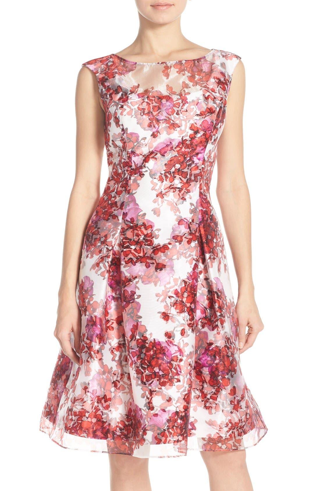 Main Image - Aidan Mattox Organza Overlay Fit & Flare Dress
