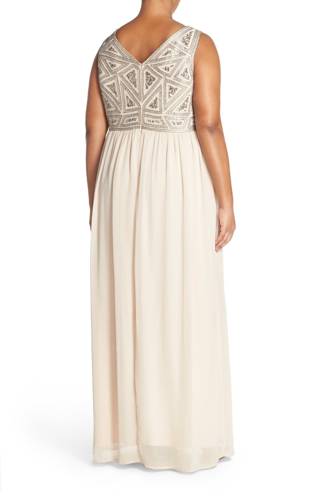 Alternate Image 2  - Adrianna Papell Beaded Bodice A-Line Gown (Plus Size)