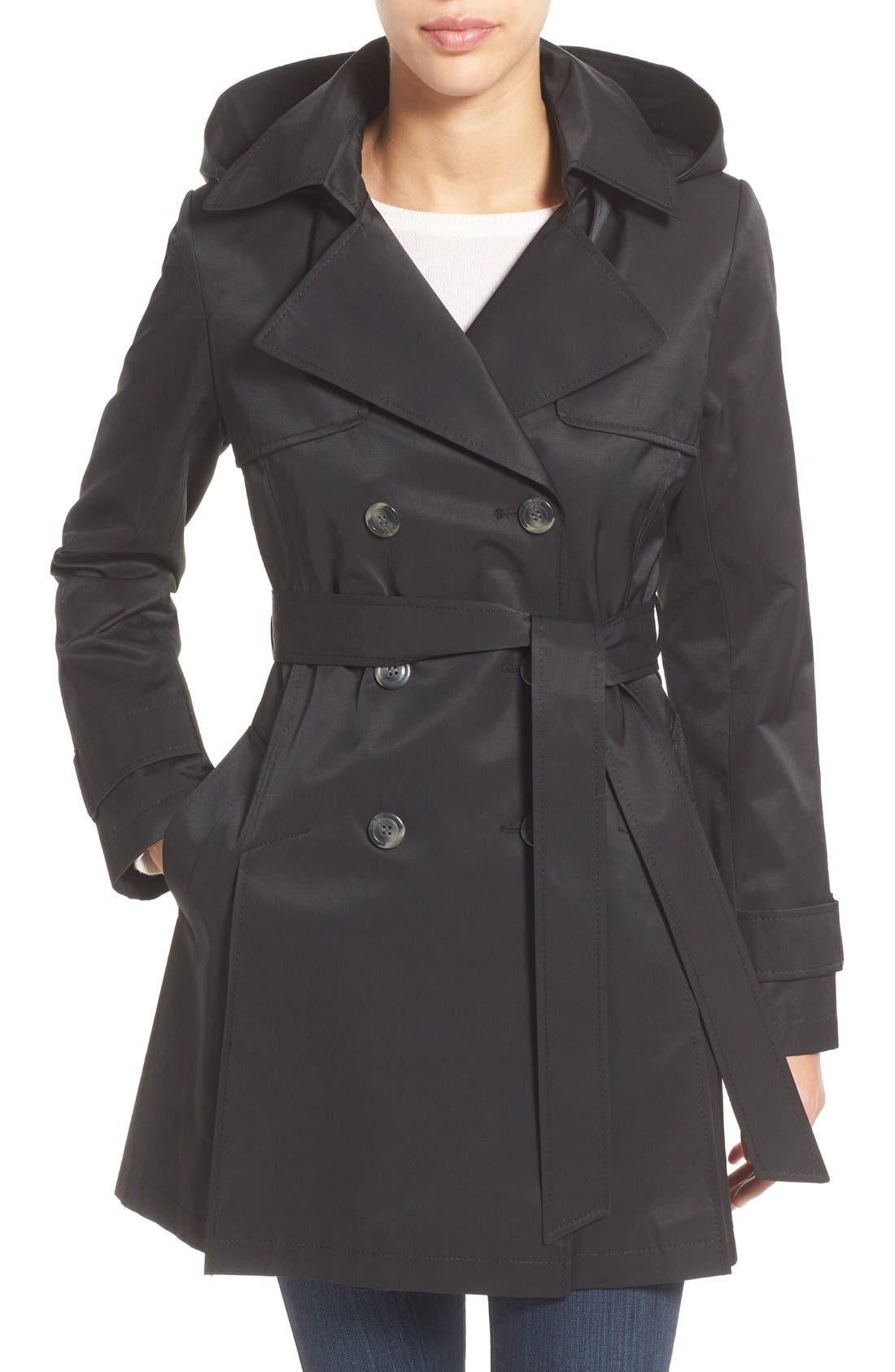 Detachable Hood Trench Coat,                             Main thumbnail 1, color,                             Black