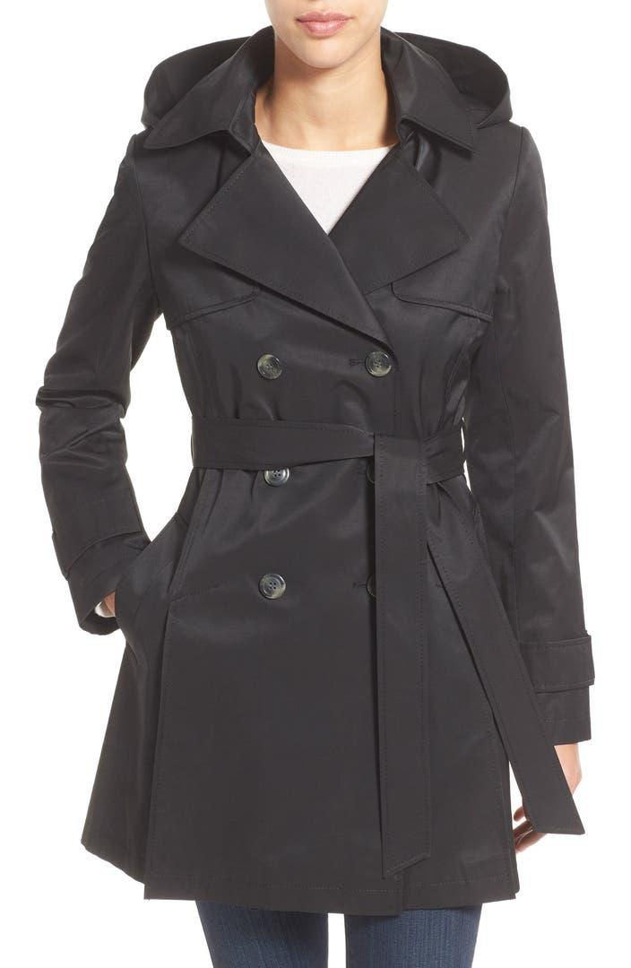 Hooded trench coat women