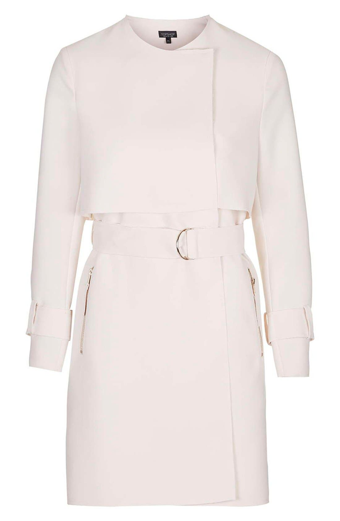 Alternate Image 4  - Topshop 'Putty' Raw Edge Belted Coat