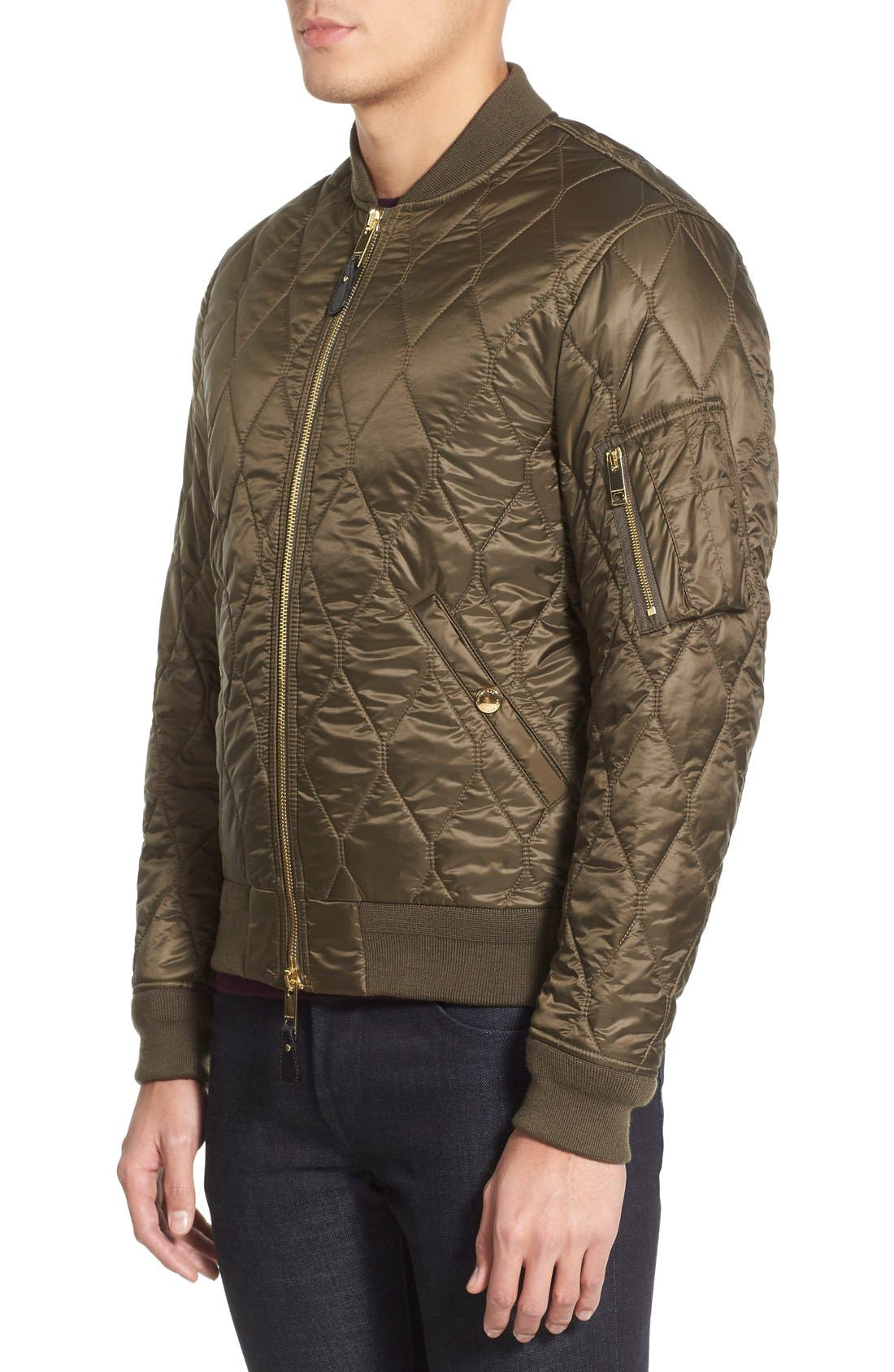 The Britain 'Grandy Aboyg' Quilted Bomber,                             Alternate thumbnail 3, color,                             Oregano