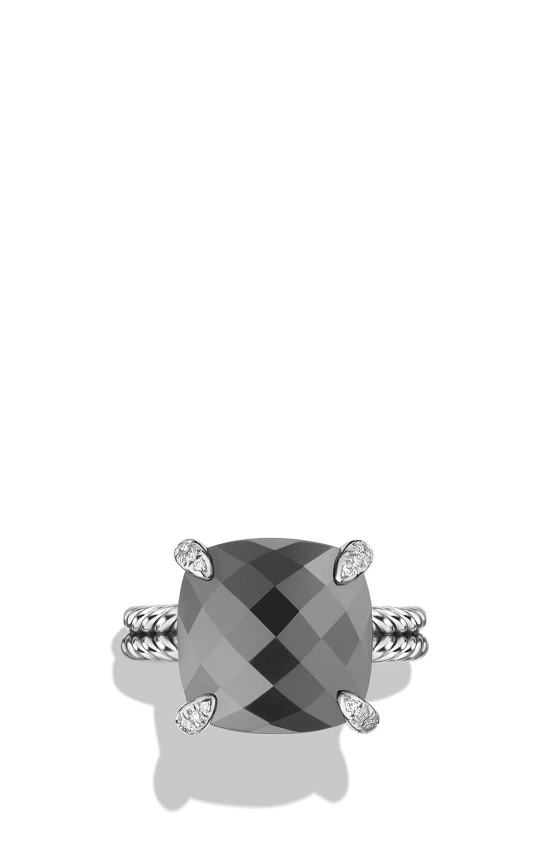 'Châtelaine' Ring with Semiprecious Stone and Diamonds,                             Alternate thumbnail 3, color,                             Silver/ Hematine