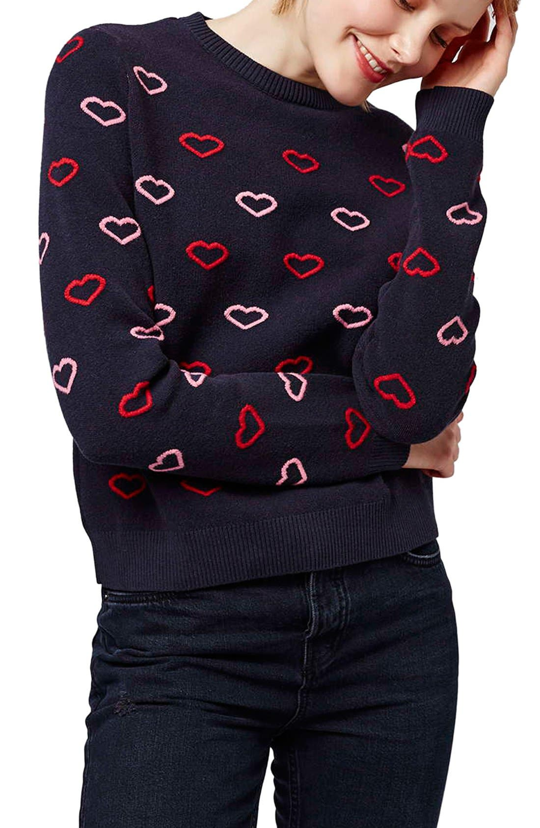 Alternate Image 1 Selected - Topshop Embroidered Heart Sweater