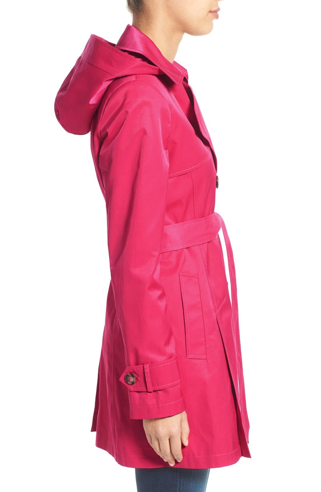 Detachable Hood Trench Coat,                             Alternate thumbnail 4, color,                             Primrose