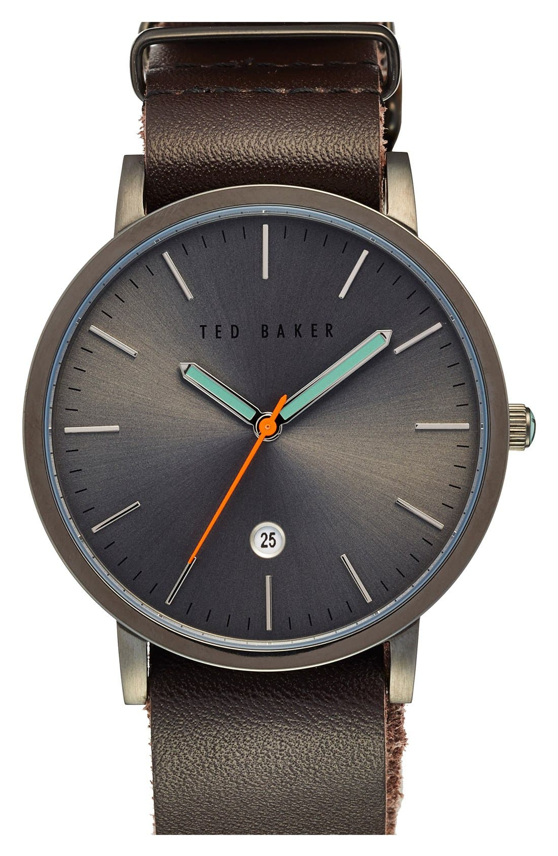 Leather Strap Watch, 40mm,                         Main,                         color, Brown/ Gunmetal