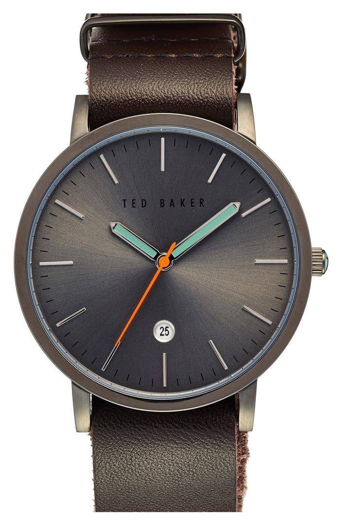 Ted baker london leather strap watch 40mm nordstrom for Watches 40mm