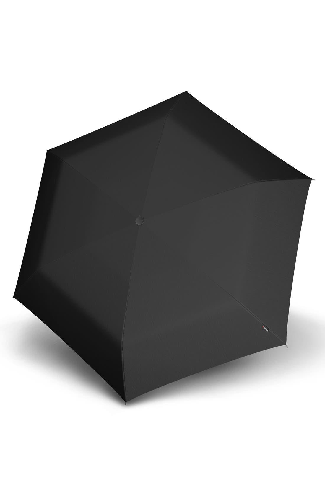 'Flat Duomatic' Umbrella,                             Main thumbnail 1, color,                             Black