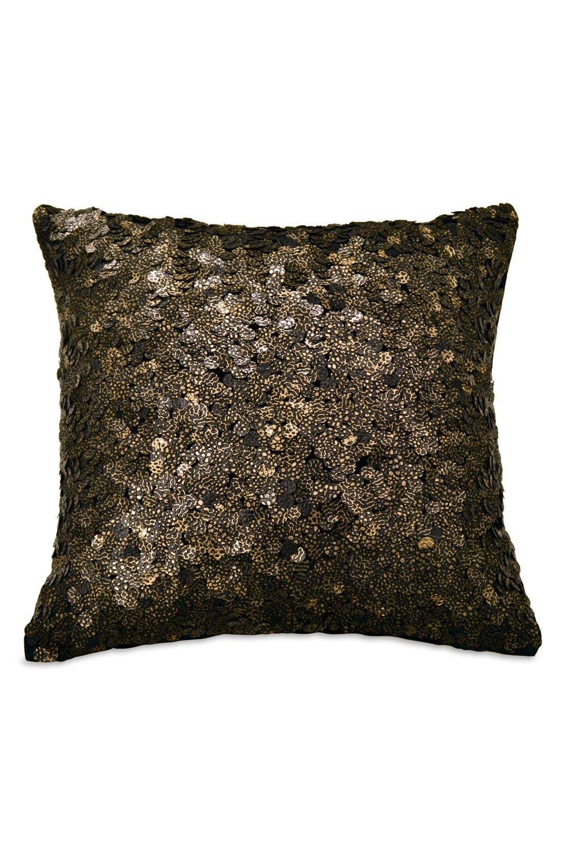 Donna Karan Collection Sequin Pillow,                         Main,                         color, Ebony