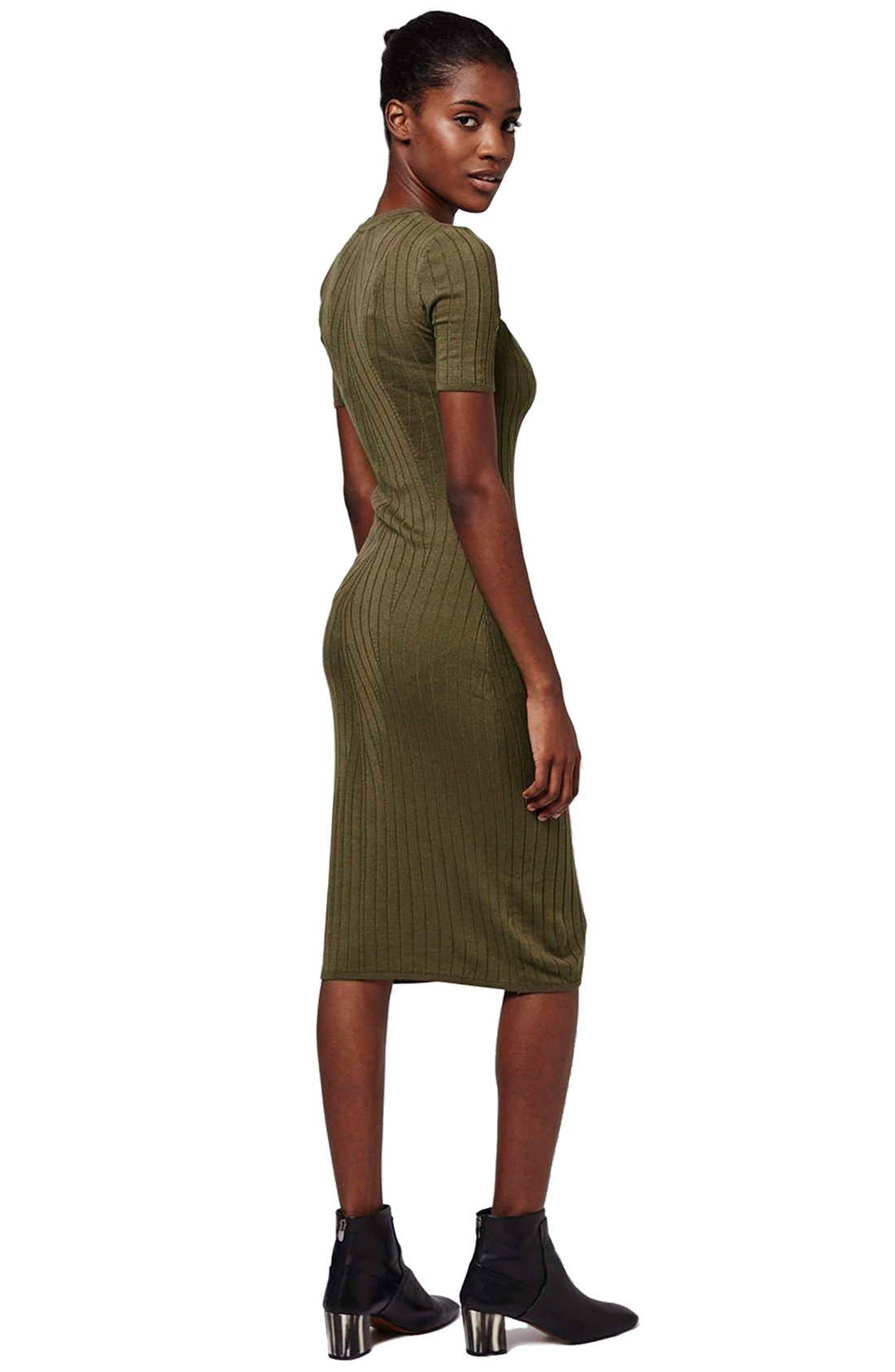 Alternate Image 2  - Topshop Travelling Ribbed Midi Dress (Petite)