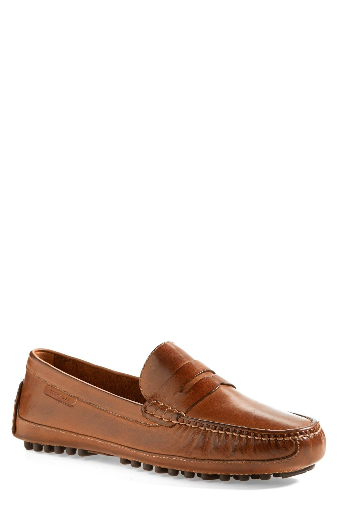 'Grant Canoe' Penny Loafer,                         Main,                         color, Papaya Leather