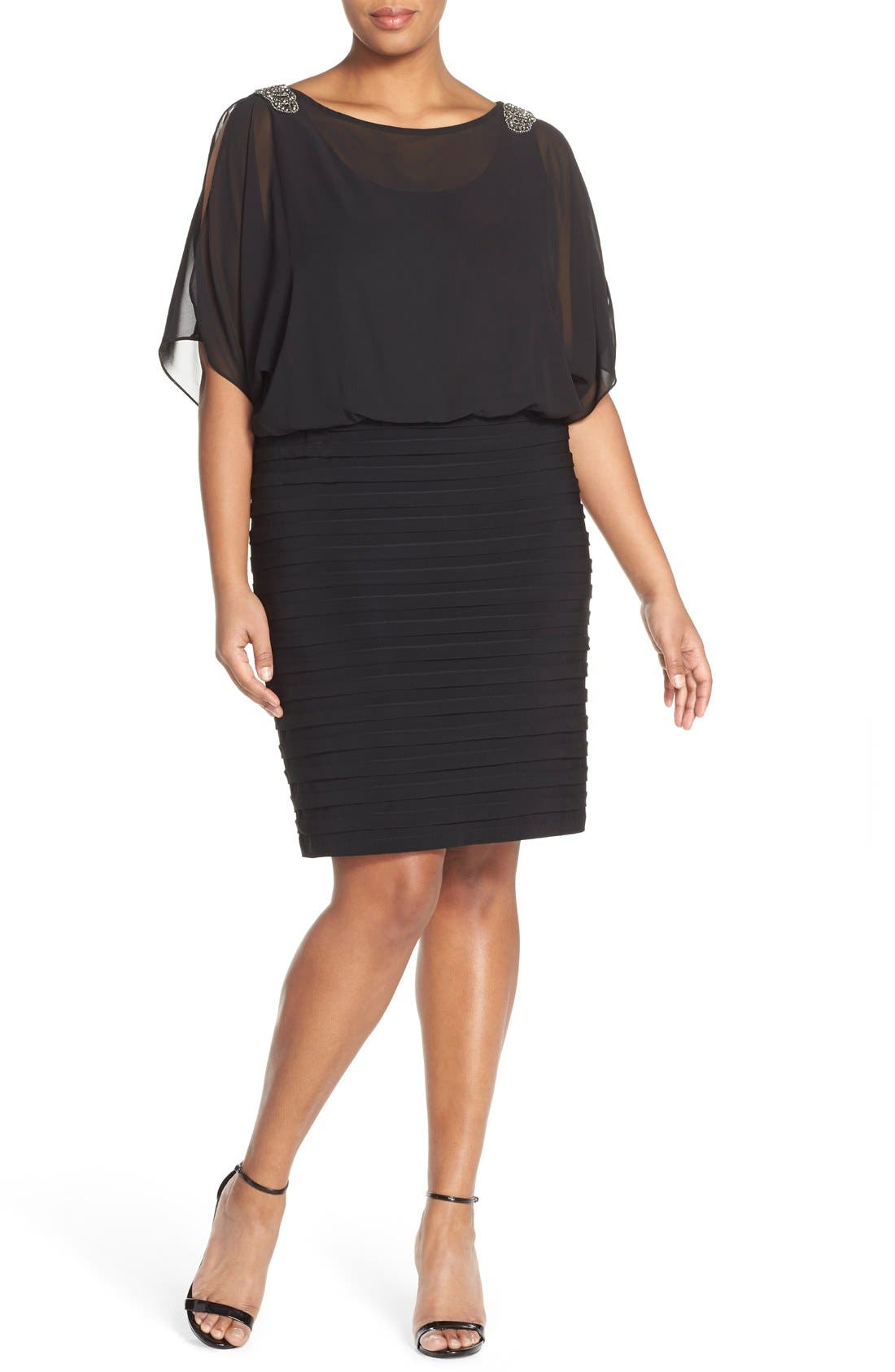 Alternate Image 4  - Xscape Beaded Cold Shoulder Dress (Plus Size)