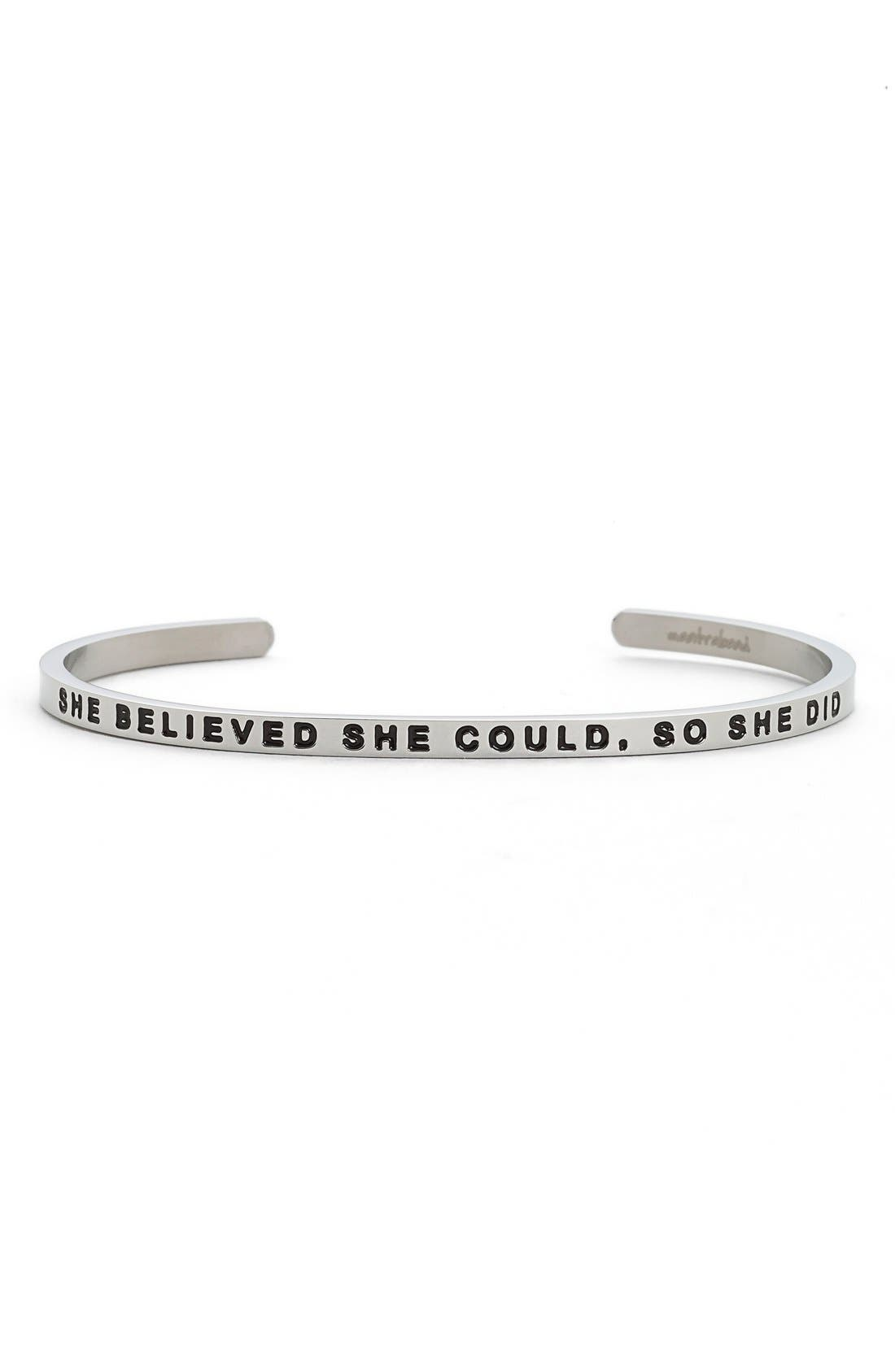 'She Believed She Could' Cuff,                             Main thumbnail 1, color,                             Silver