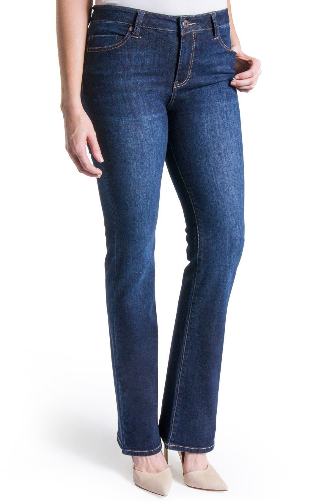 Lucy Stretch Bootcut Jeans,                             Alternate thumbnail 3, color,                             Vintage Super Dark