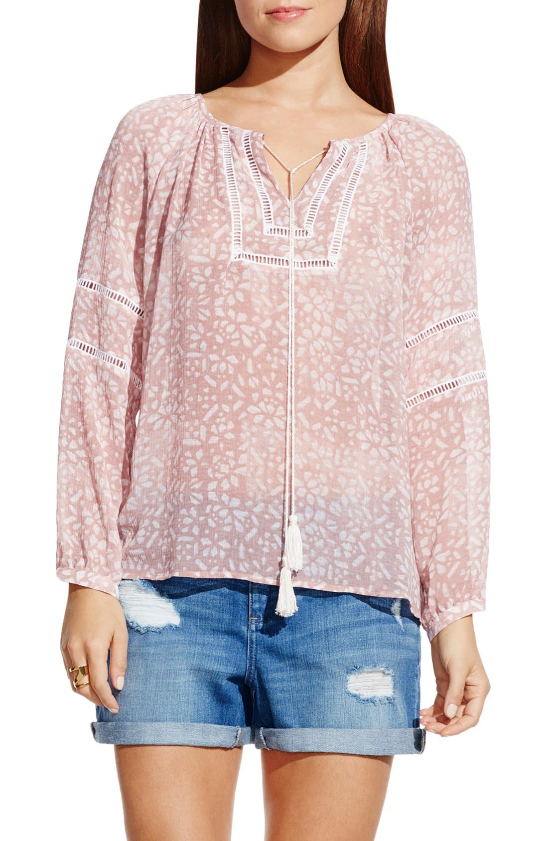Alternate Image 1 Selected - Two by Vince Camuto 'Woodblock Petals' Peasant Blouse