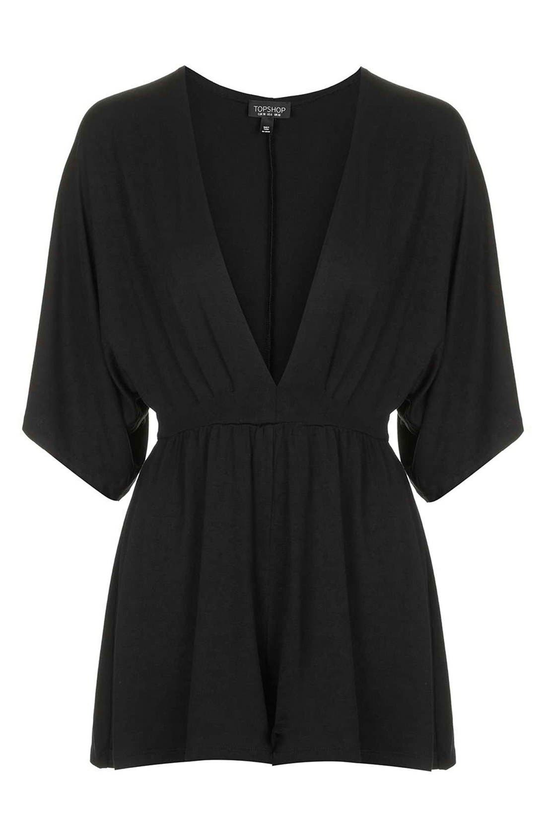 Plunge Jersey Romper,                             Alternate thumbnail 4, color,                             Black