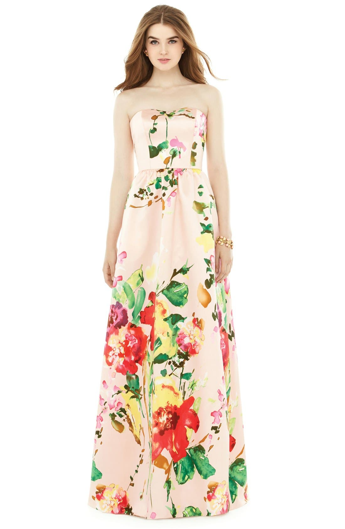 Watercolor Floral Strapless Sateen A-Line Gown,                             Main thumbnail 1, color,                             Blush Bouquet