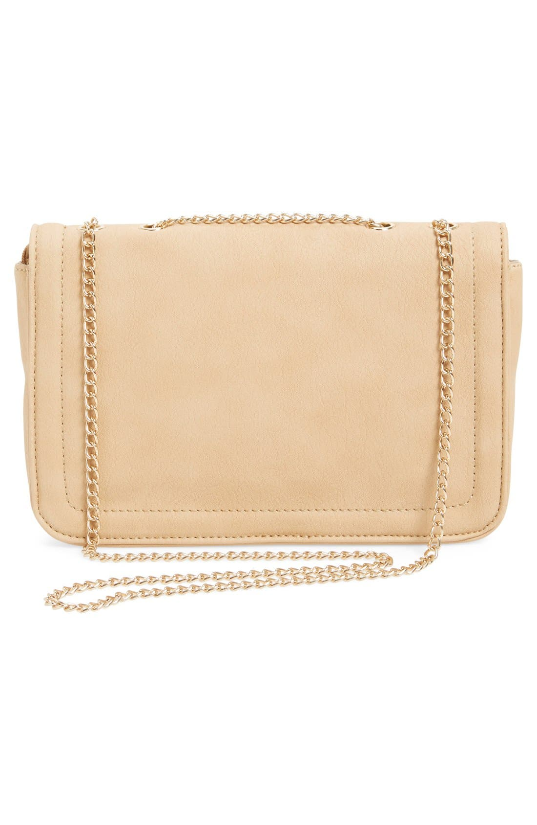 Quilted Faux Leather Crossbody Bag,                             Alternate thumbnail 3, color,                             Nude