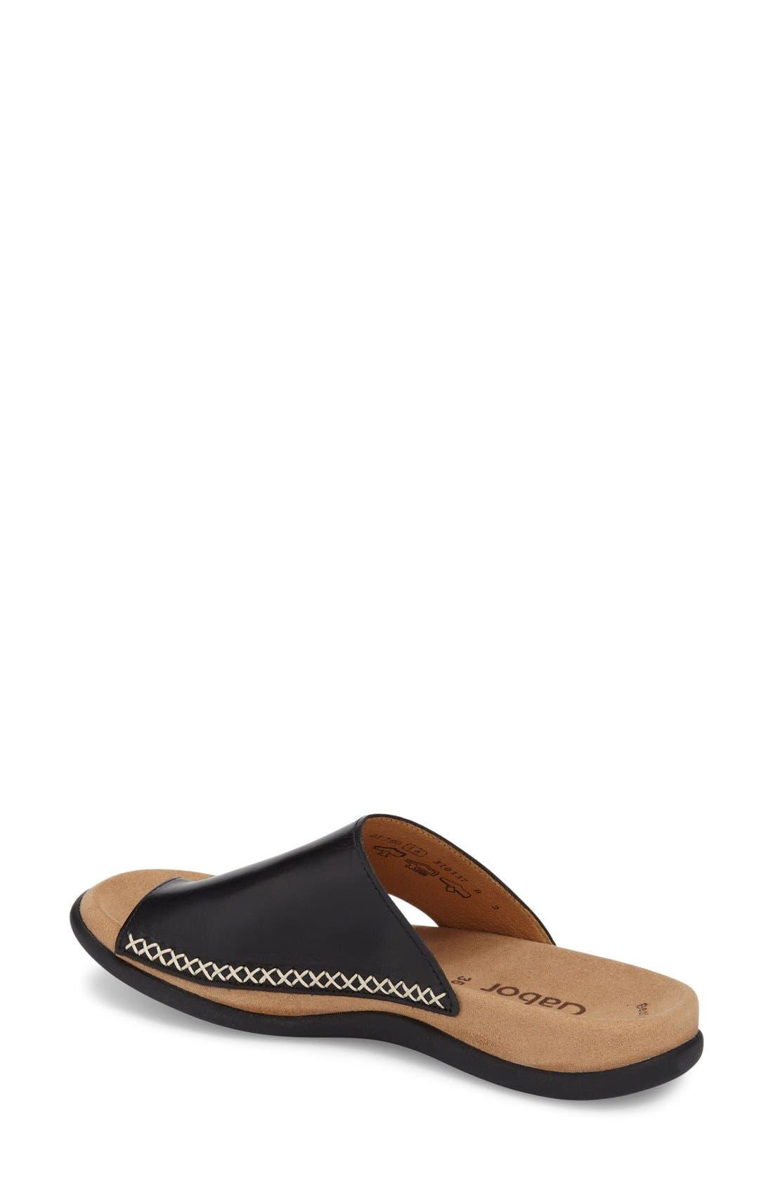 Toe Loop Sandal,                             Alternate thumbnail 2, color,                             Black Nubuck Leather