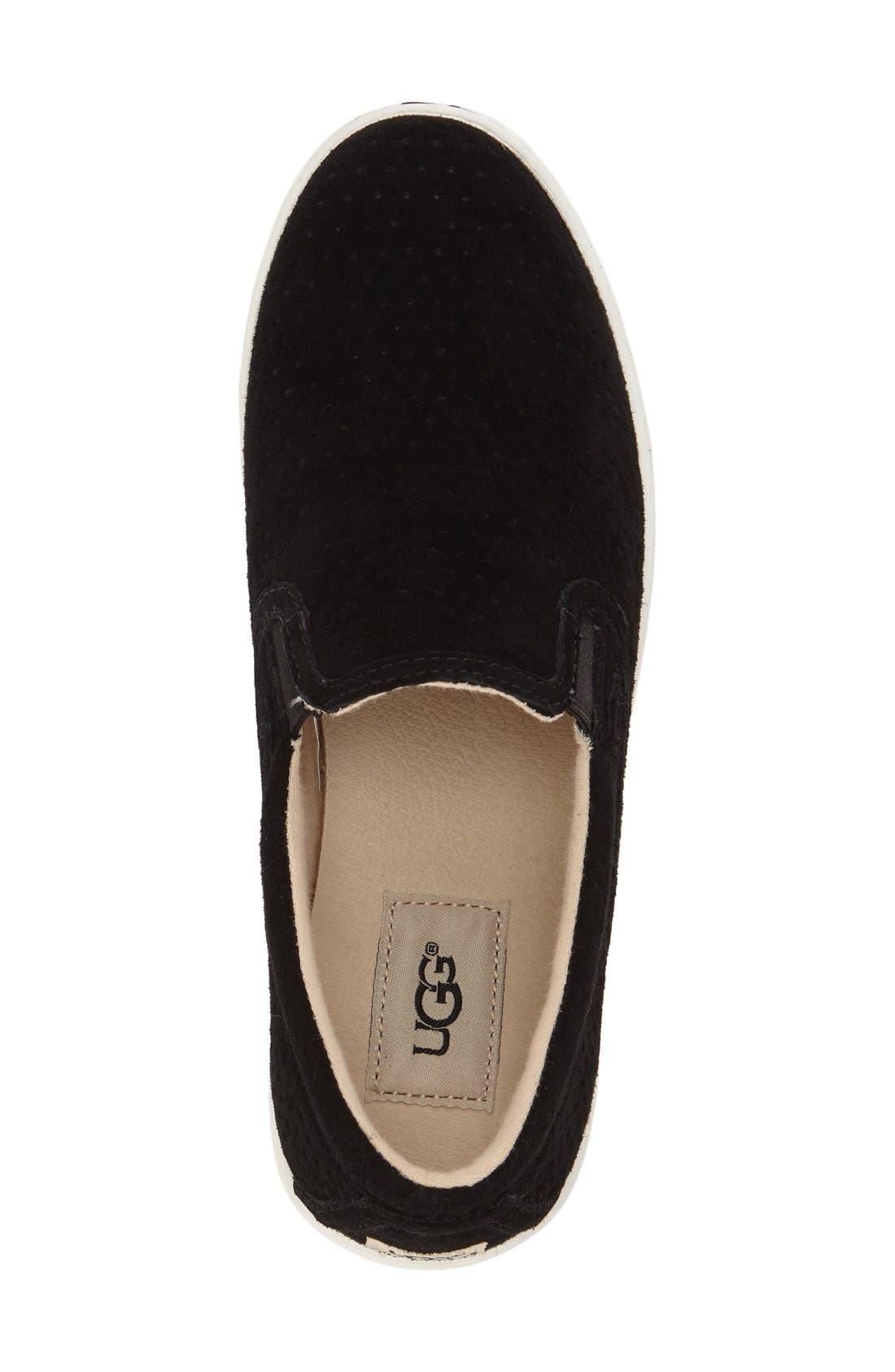 'Fierce Geo' Perforated Slip-On Sneaker,                             Alternate thumbnail 3, color,                             Black Suede
