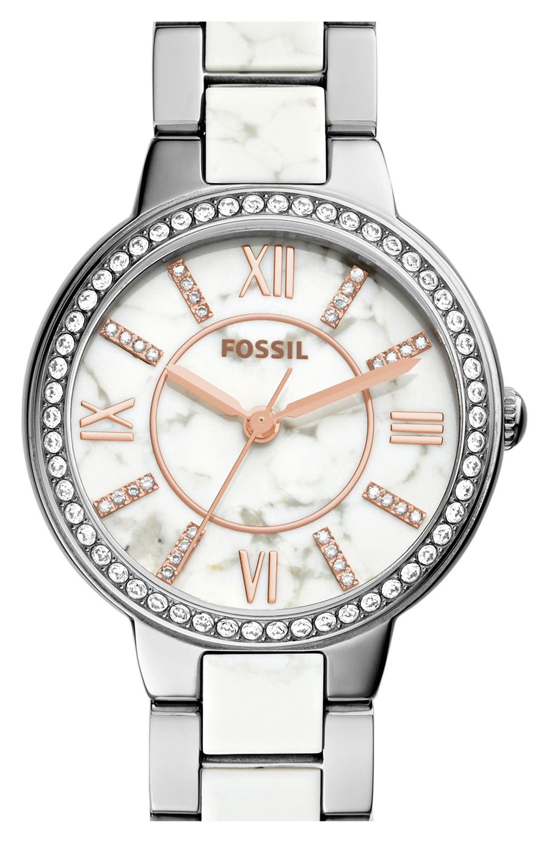 Main Image - Fossil 'Virginia' Crystal Accent Bracelet Watch, 30mm