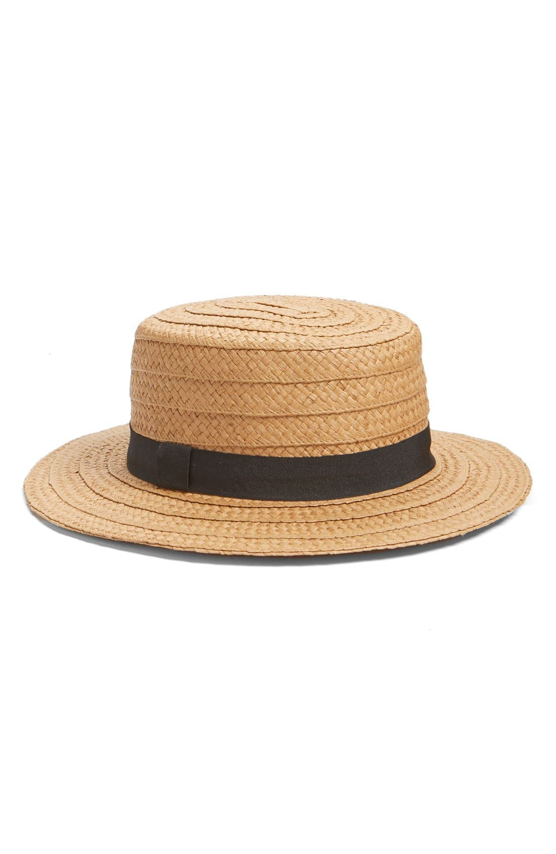 Straw Boater Hat,                         Main,                         color, Natural