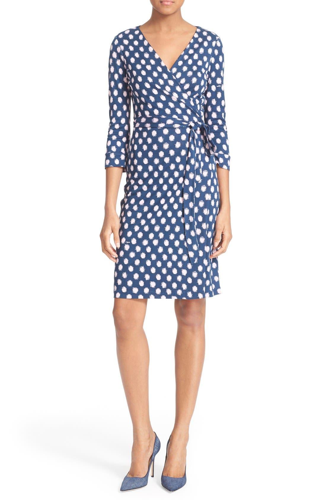 Main Image - Diane von Furstenberg 'New Julian Two' Polka Dot Silk Wrap Dress (Nordstrom Exclusive)