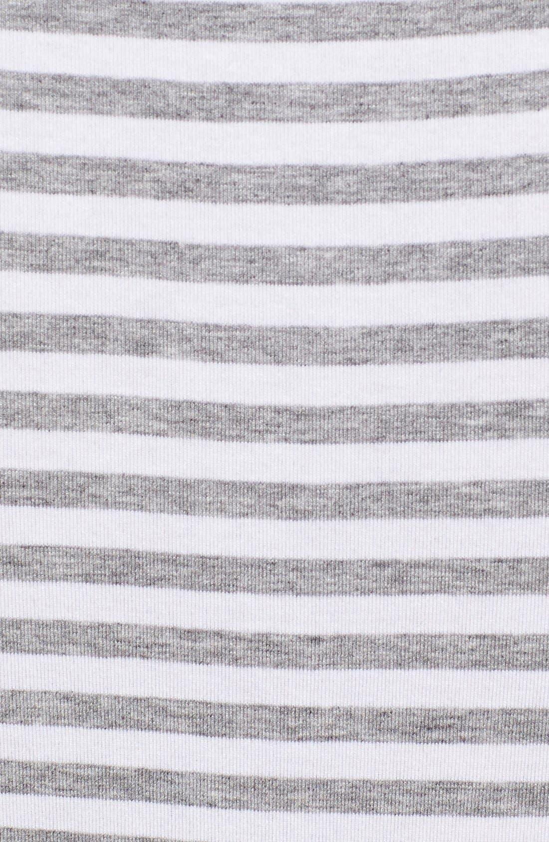 Stripe Jersey Cutaway Shoulder Maxi Dress,                             Alternate thumbnail 5, color,                             Light Heather Grey