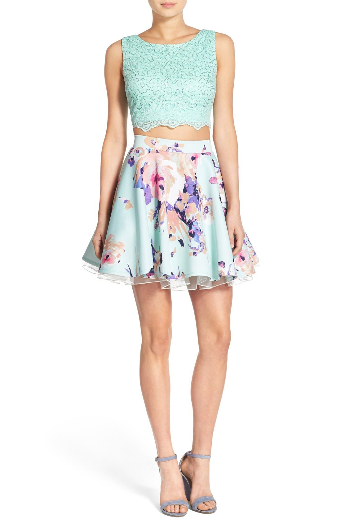 Alternate Image 1 Selected - Way-In Lace Bodice Floral Print Two-Piece Dress