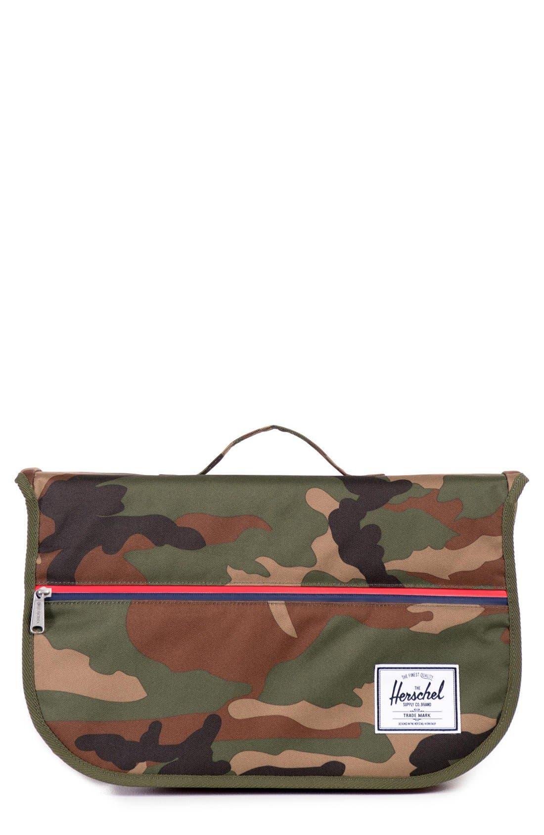 'Pop Quiz' Messenger Bag,                         Main,                         color, Woodland Camo