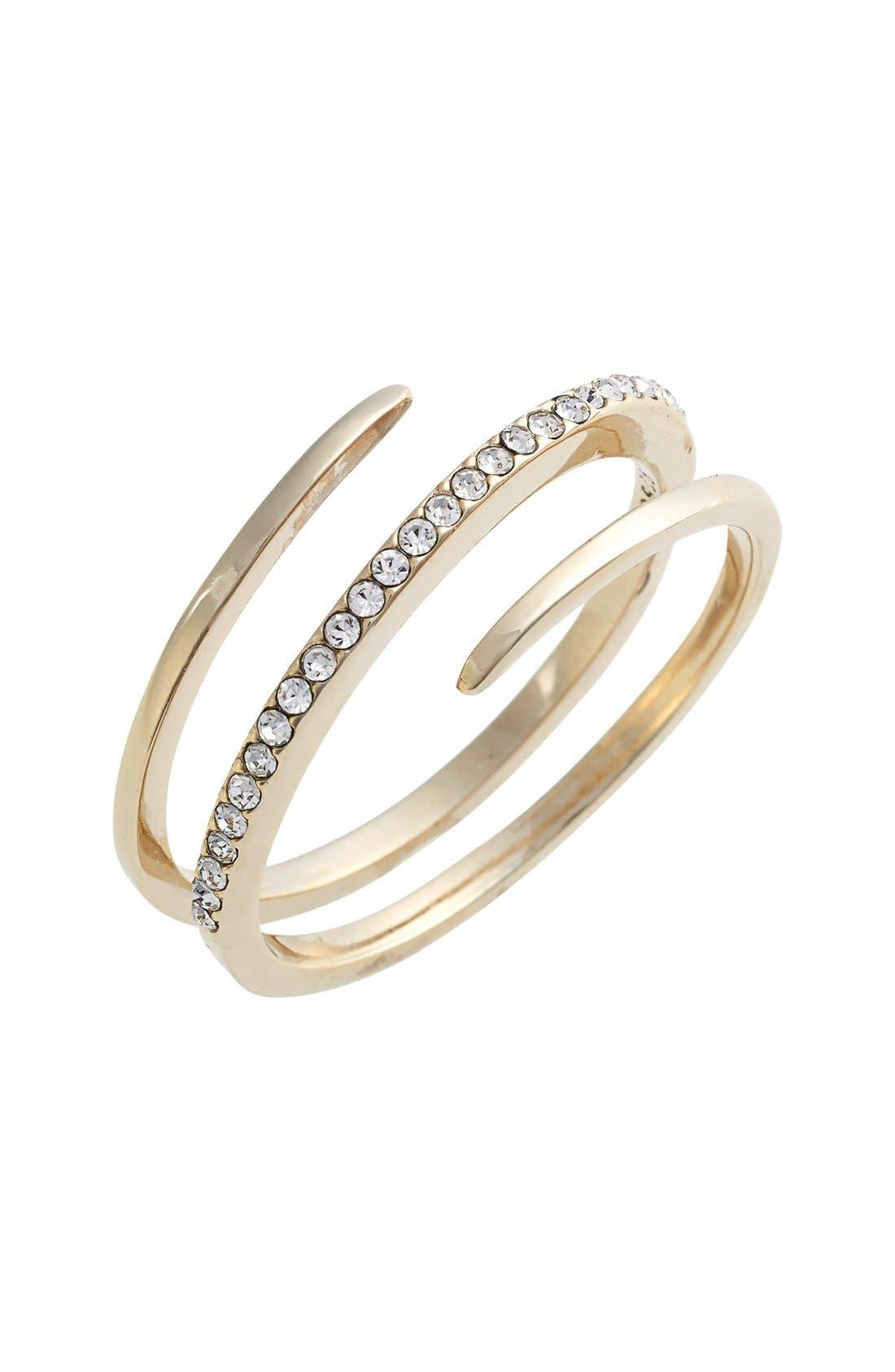 Crystal Wrap Ring,                             Main thumbnail 1, color,                             Gold
