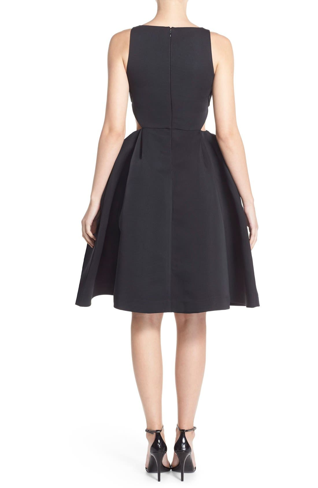 Alternate Image 2  - Halston Heritage Side Cutout Bateau Neck Satin Faille Fit & Flare Dress