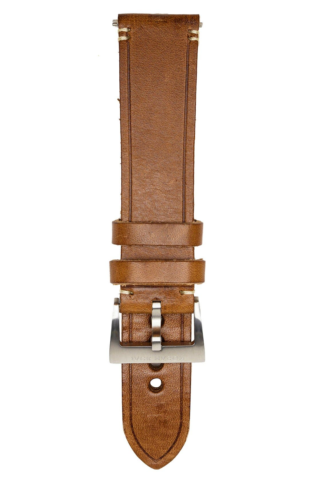 Leather Watch Strap, 22mm,                             Main thumbnail 1, color,                             Brown