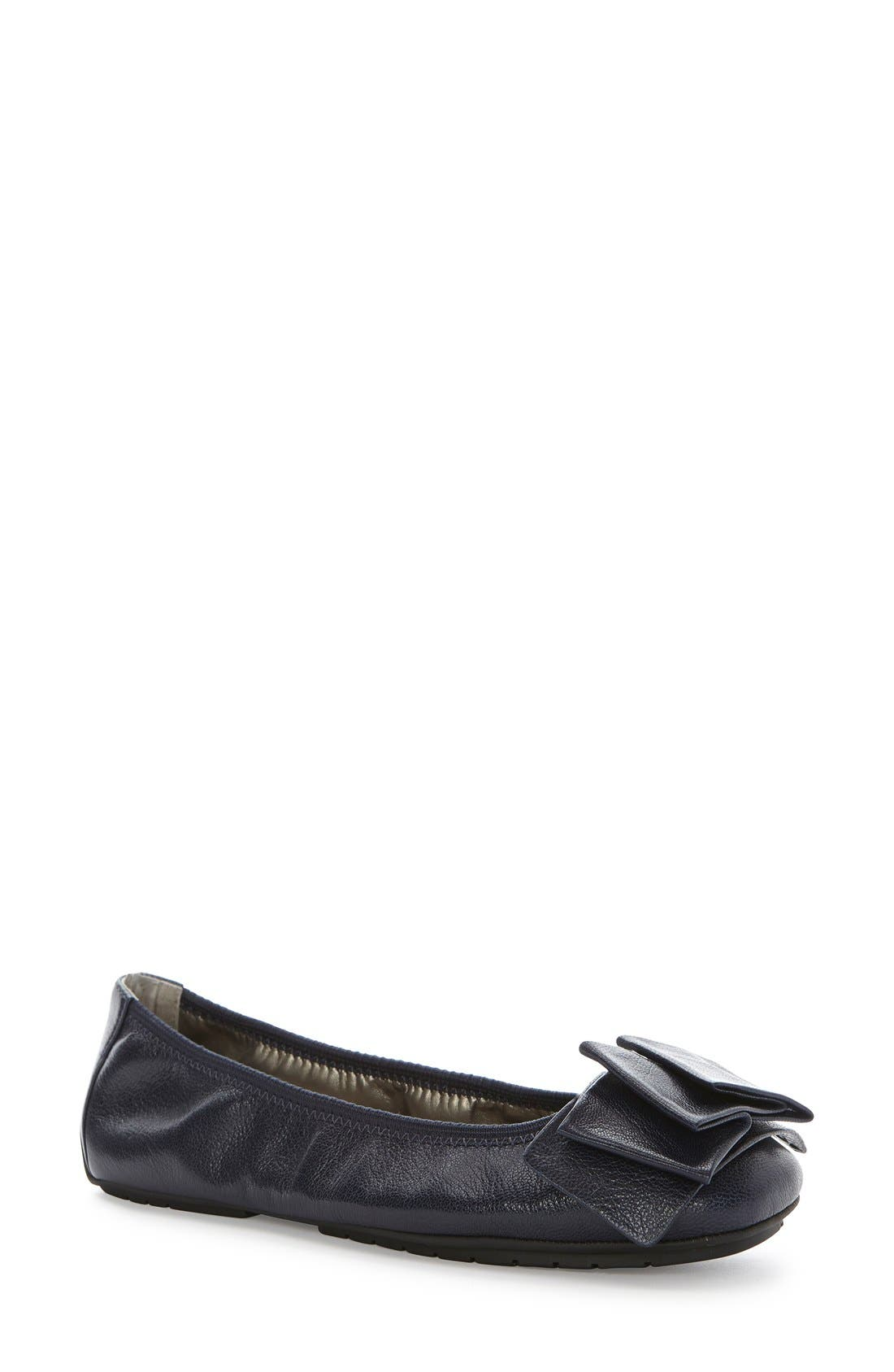 'Lilyana 2.0' Flat,                         Main,                         color, Navy Leather