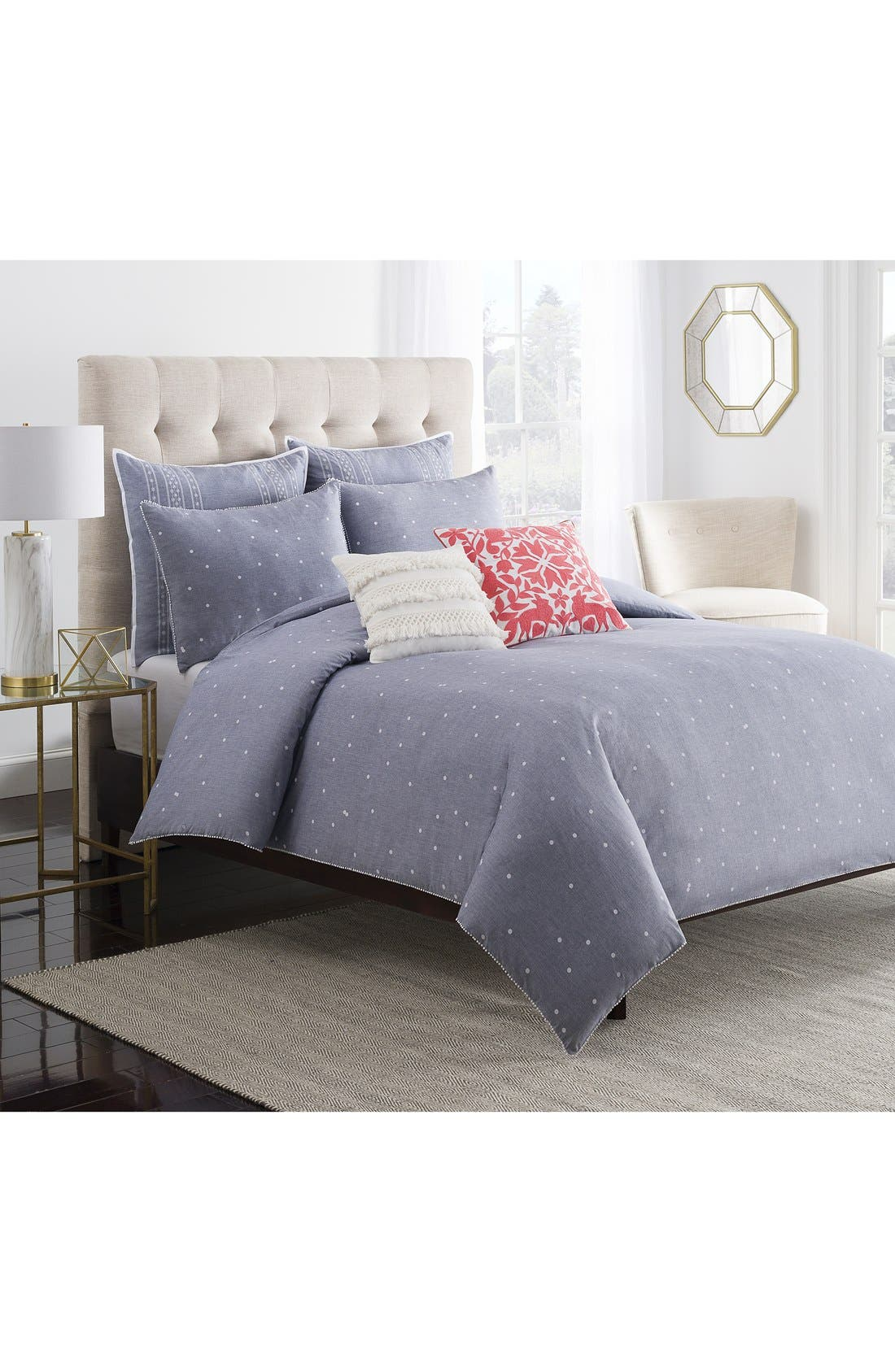 cupcakes & cashmere Chambray Dot Duvet Cover,                         Main,                         color, Blue