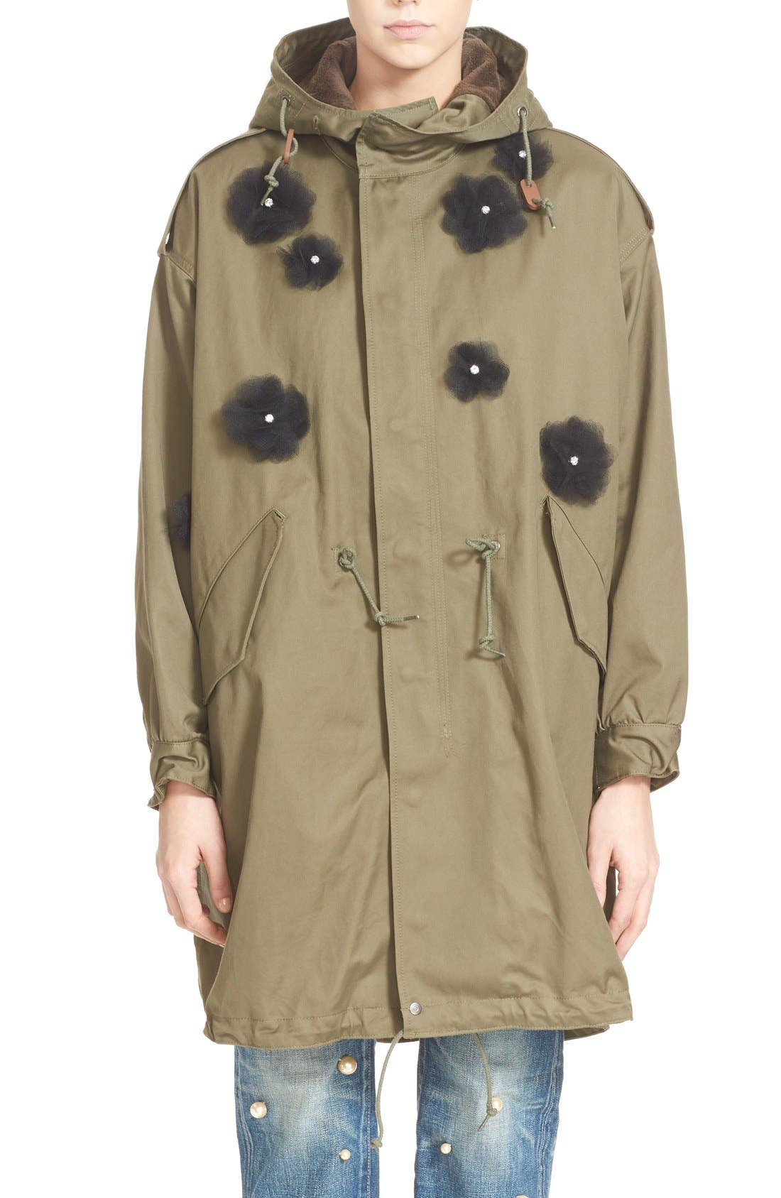 Tulle Flower Utility Coat,                         Main,                         color, Khaki