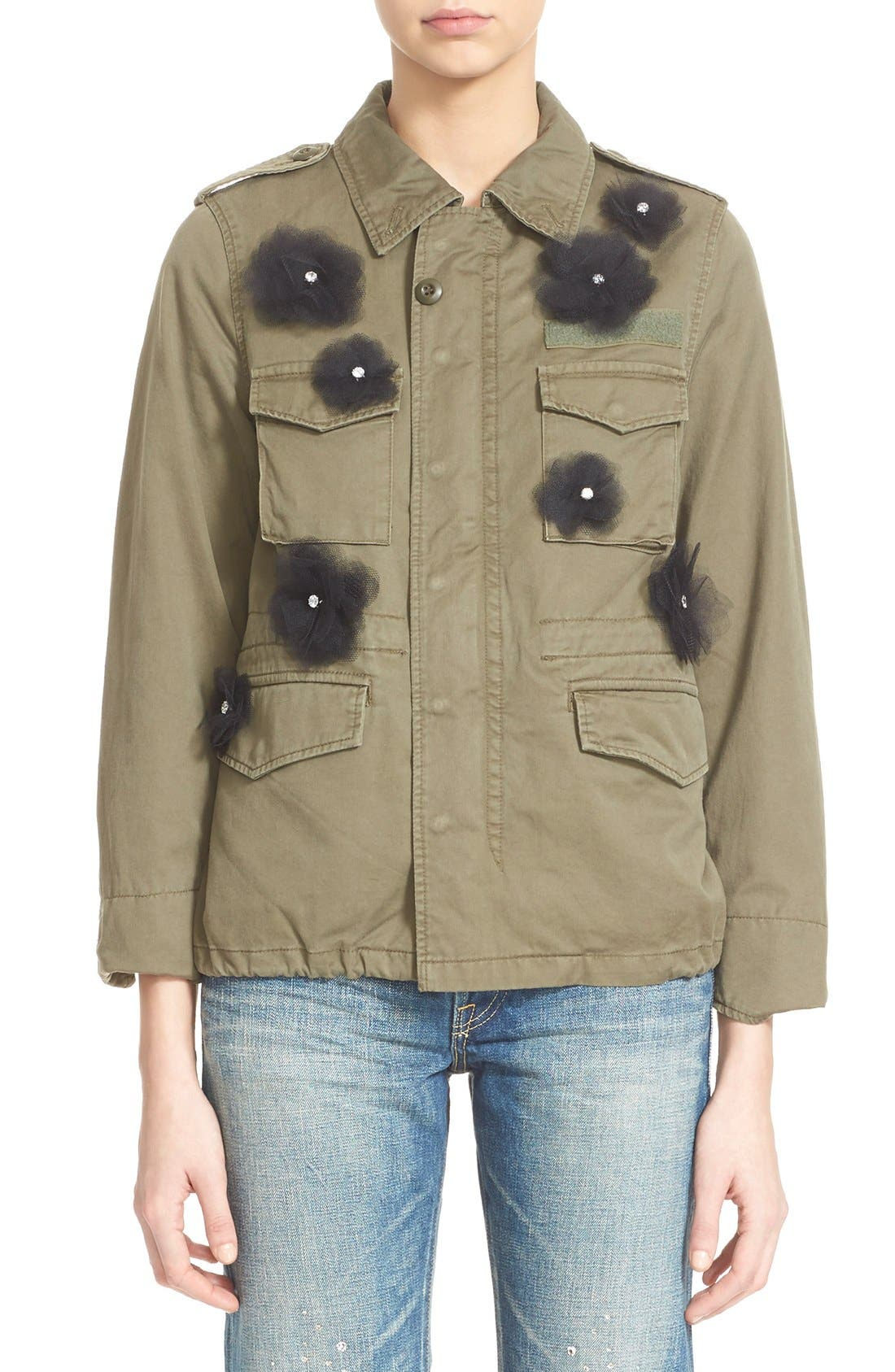 Tulle Flower Military Jacket,                         Main,                         color, Khaki